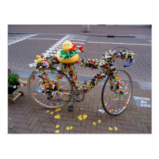 Cool Amsterdam Bicycle with the Yellow Duck Postcard