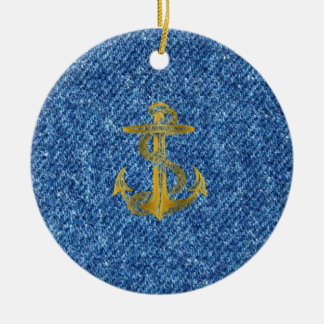 Cool anchor in golden and  jeans fabric effects round ceramic decoration