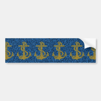 cool anchor pattern gold and blue glitter effects bumper sticker