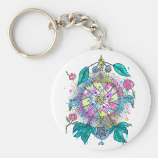 Cool and colorful dreamcatcher basic round button key ring