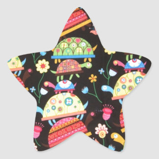 cool and colorful pattern with turttles star sticker