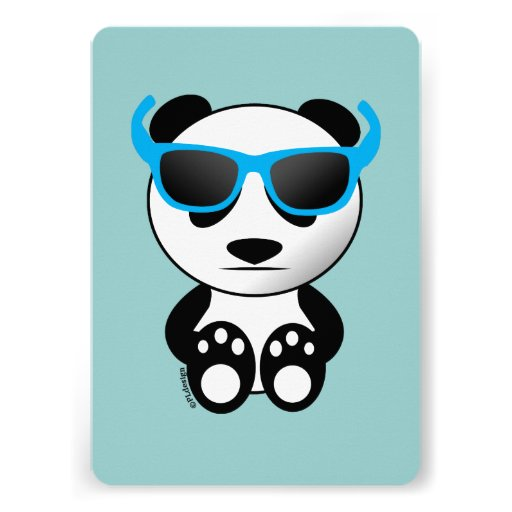 Cool and cute panda bear with sunglasses announcement