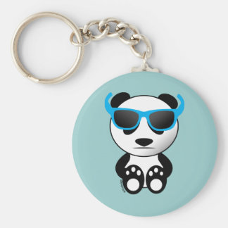 Cool and cute panda bear with sunglasses basic round button key ring