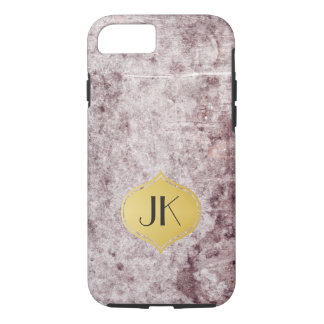 Cool and Edgy Grunge Gold Monogram iPhone 7 Case