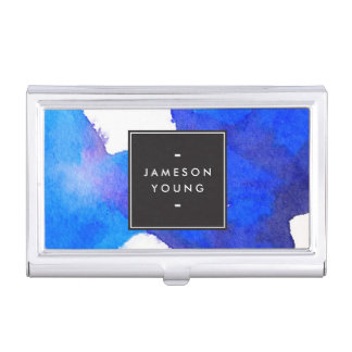 Cool and Elegant Abstract Blue Watercolor Business Card Holder