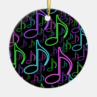 Cool and Fun Bright Neon Music Note Collage Round Ceramic Decoration