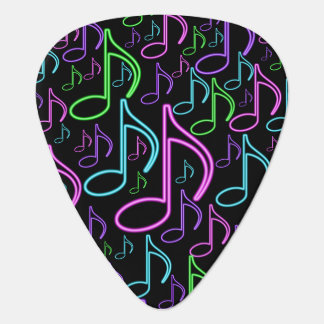 Cool and Fun Neon Music Note Collage Plectrum