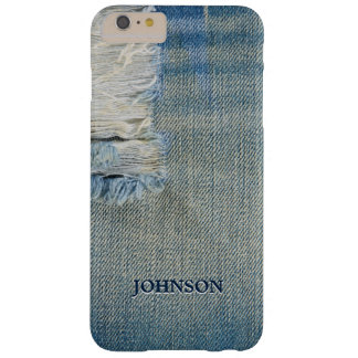Cool and Funny Blue Jean Threads Custom Monogram Barely There iPhone 6 Plus Case