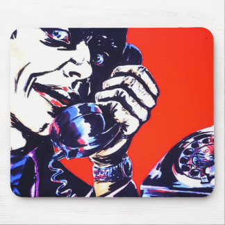 Cool Angry 1970's Retro Phone Man Mouse Mat / Pad