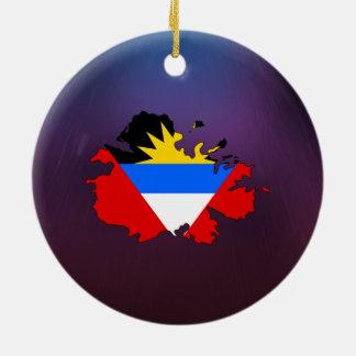 Cool Antigua and Barbuda Flag Map Round Ceramic Decoration