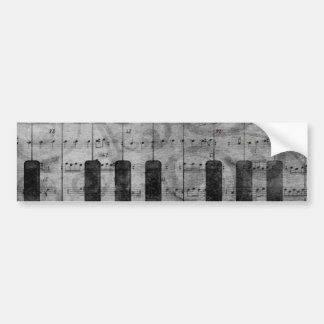 Cool antique grunge effect piano music notes bumper sticker