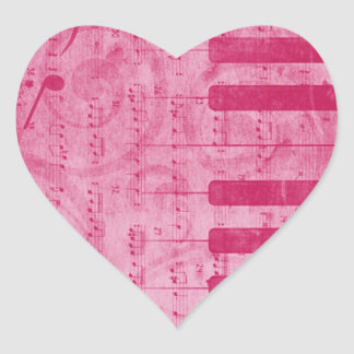 Cool antique grunge effect piano music notes heart sticker