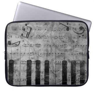 Cool antique grunge effect piano music notes laptop sleeve