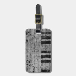 Cool antique grunge effect piano music notes luggage tag