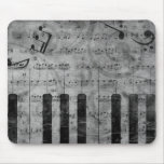 Cool antique grunge effect piano music notes mouse pad