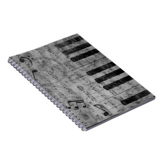 Cool antique grunge effect piano music notes notebooks