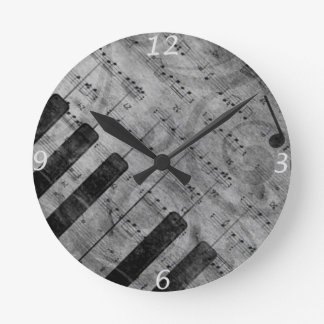 Cool antique grunge effect piano music notes wall clock