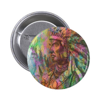Cool antique native american Indian clipart colour 6 Cm Round Badge