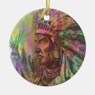 Cool antique native american Indian clipart colour Christmas Ornament