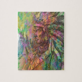 Cool antique native american Indian clipart colour Jigsaw Puzzle
