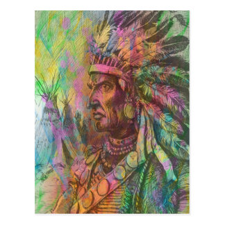 Cool antique native american Indian clipart colour Postcard