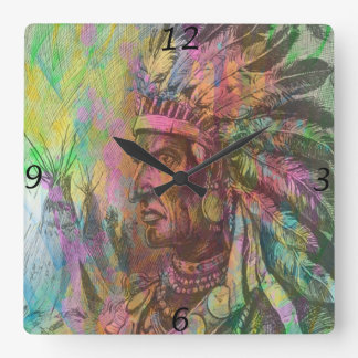 Cool antique native american Indian clipart colour Wall Clocks