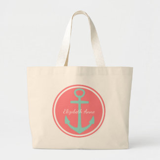 Cool Aqua Anchor on Coral Pink Personalized Large Tote Bag