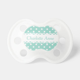 Cool Aqua and White Polka Dot Personalized Pacifiers