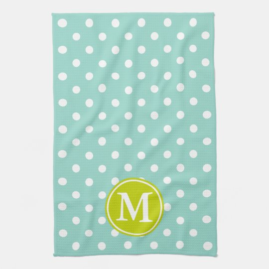 Cool Aqua and White Polka Dot With Lime
