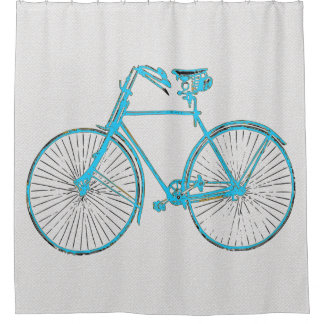 Cool aqua black bicycle 🚵 white Shower curtain