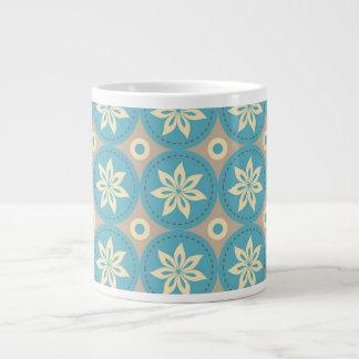 Cool Aqua Floral Abstract 20 Oz Large Ceramic Coffee Mug