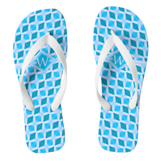 Cool Aqua Ice Diamond Pattern Monogram Flip Flops