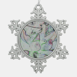 Cool Artistic Contemporary Abstract Pattern Snowflake Pewter Christmas Ornament