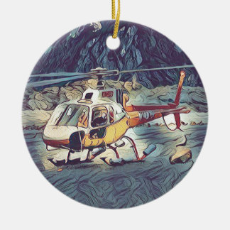 Cool Artistic Helicopter Christmas Ornament