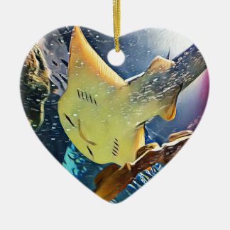 Cool Artistic Underside of Stingray Ceramic Heart Decoration