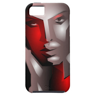 cool artistic woman face black red iPhone 5 case