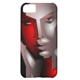 cool artistic woman face black red iPhone 5C case