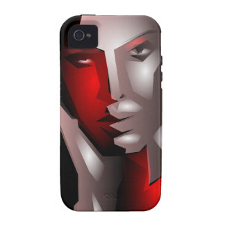cool artistic woman face black red iPhone 4 case