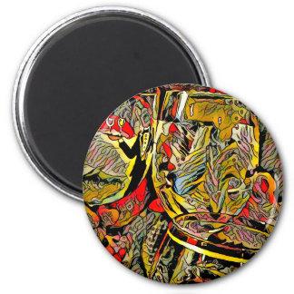 Cool Artsy Modern Wine Glass Decor 6 Cm Round Magnet