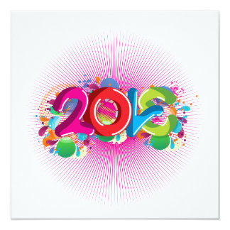 cool awesome colourful Love 2013 splatter doodles 13 Cm X 13 Cm Square Invitation Card