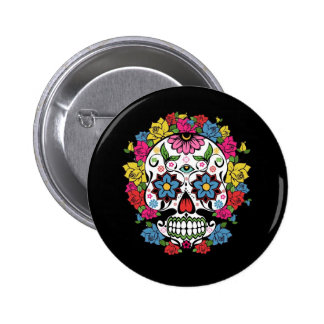 Cool awesome colourful swirls dots flowers skull 6 cm round badge