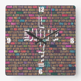 Cool awesome Faith Love Hope graffiti words cross Square Wall Clock