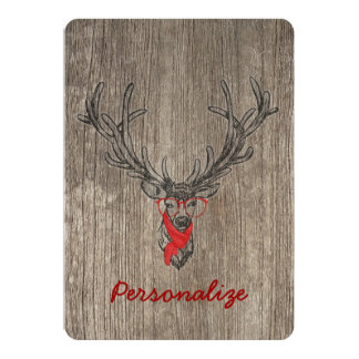 Cool awesome funny trendy deer sketch 13 cm x 18 cm invitation card