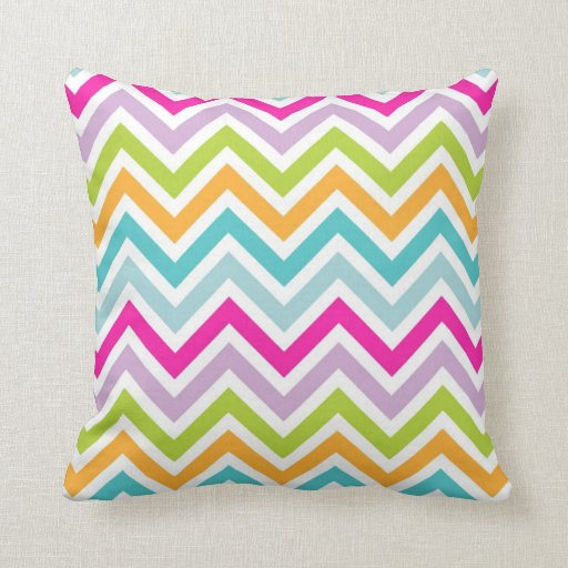 Cool awesome trendy bright colours chevron zigzag throw pillows