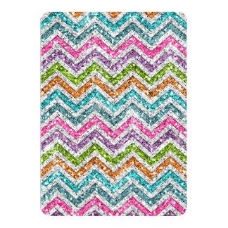 Cool awesome trendy bright colours chevron zigzag 13 cm x 18 cm invitation card