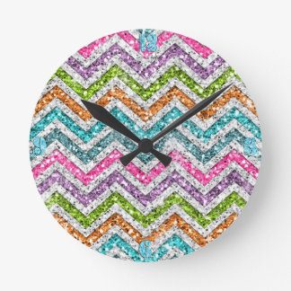 Cool awesome trendy bright colours chevron zigzag round clock