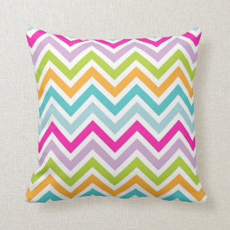 Cool awesome trendy bright colours chevron zigzag throw pillow