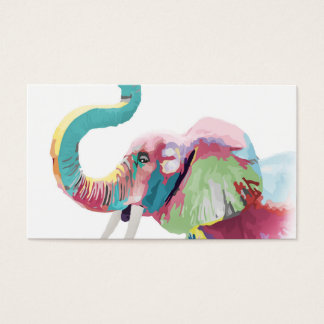 Cool awesome trendy colorful vibrant elephant business card
