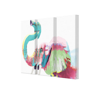 Cool awesome trendy colorful vibrant elephant gallery wrapped canvas