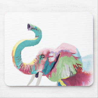 Cool awesome trendy colorful vibrant elephant mouse pad